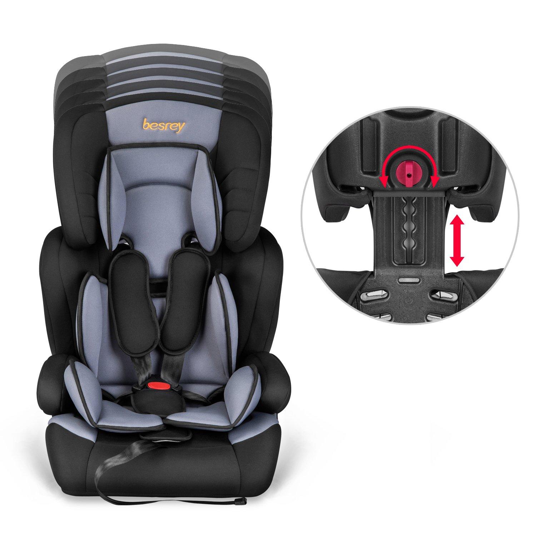 Schwarz/&Grau Besrey/® 3 in 1 Autokindersitz Autositz Kinderautositz 9-36 kg Gruppe 1 2 3 nach ECE R44//04
