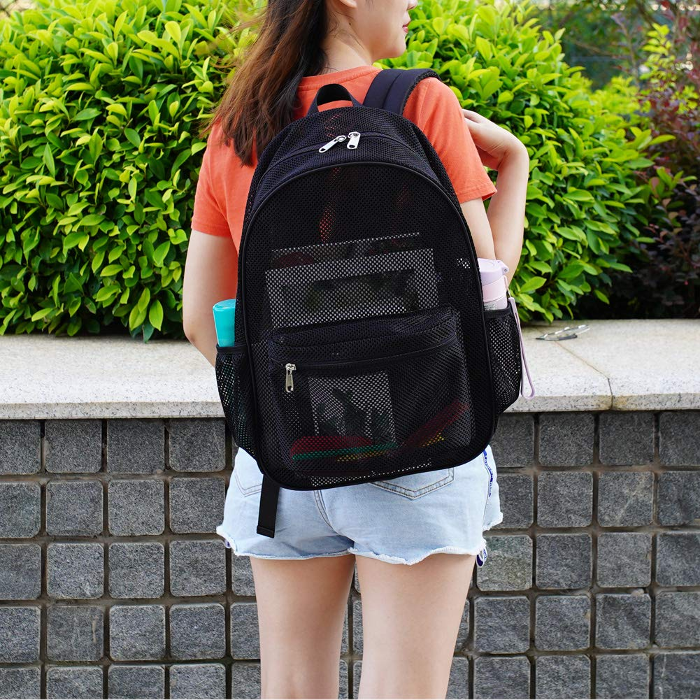 Heavy Duty Semi-Transparent Mesh Backpack Beach See Through College Student Backpack with Padded Shoulder Straps for Commuting Outdoor Sports Travel Swimming