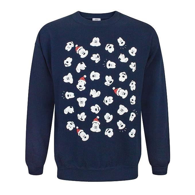 Disney Mickey Mouse Faces Christmas Sweatshirt (S): Amazon.es: Ropa y accesorios