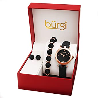 07888a246 ... Ladies Gift Set Stylish Watch with 4 Diamond Markers Leather Strap, and  Glitter Markers, Crystal Beaded Bracelet and Crystal Earrings (Black/Rose  Gold): ...