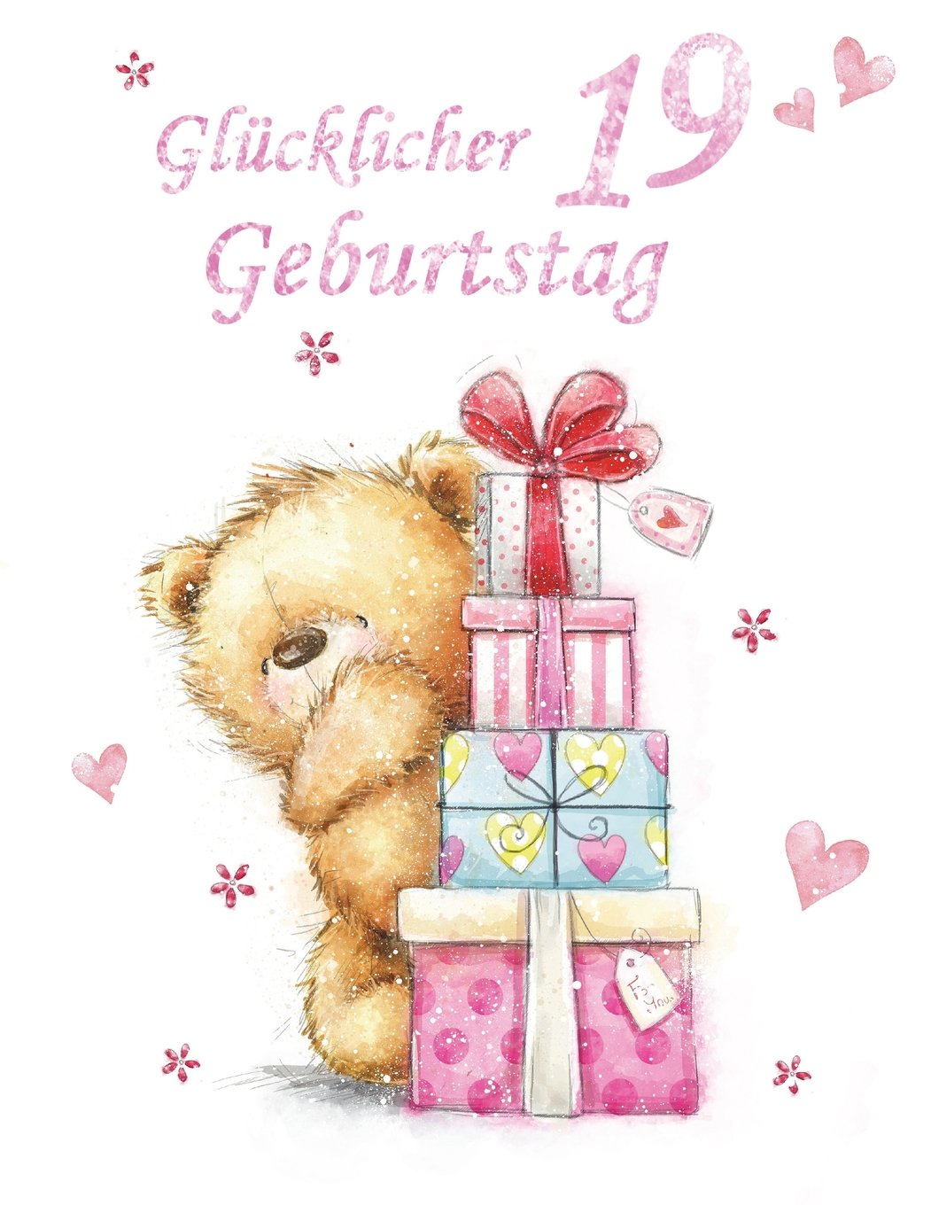"""Read Online Glucklicher Geburtstag 19: German Version, Happy 19th Birthday, Notebook, Journal, Dairy, 185 Lined Pages, Cute Teddy Bear Themed Birthday Gifts for ... or Granddaughter, Book Size 8 1/2"""" x 11"""" pdf"""