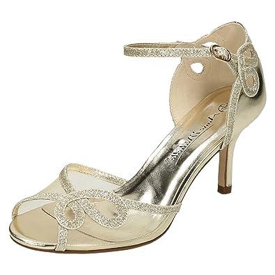 8e60853b1e48 Anne Michelle Ladies Mid Heel Sandals - Gold Synthetic - UK Size 3 - EU Size