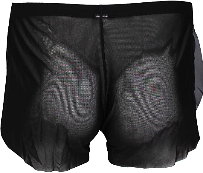 YONGHS Mens Hollow Out Fishnet Drawstring Boxer Briefs Lounge Sports Trunks Breathable Swimwear