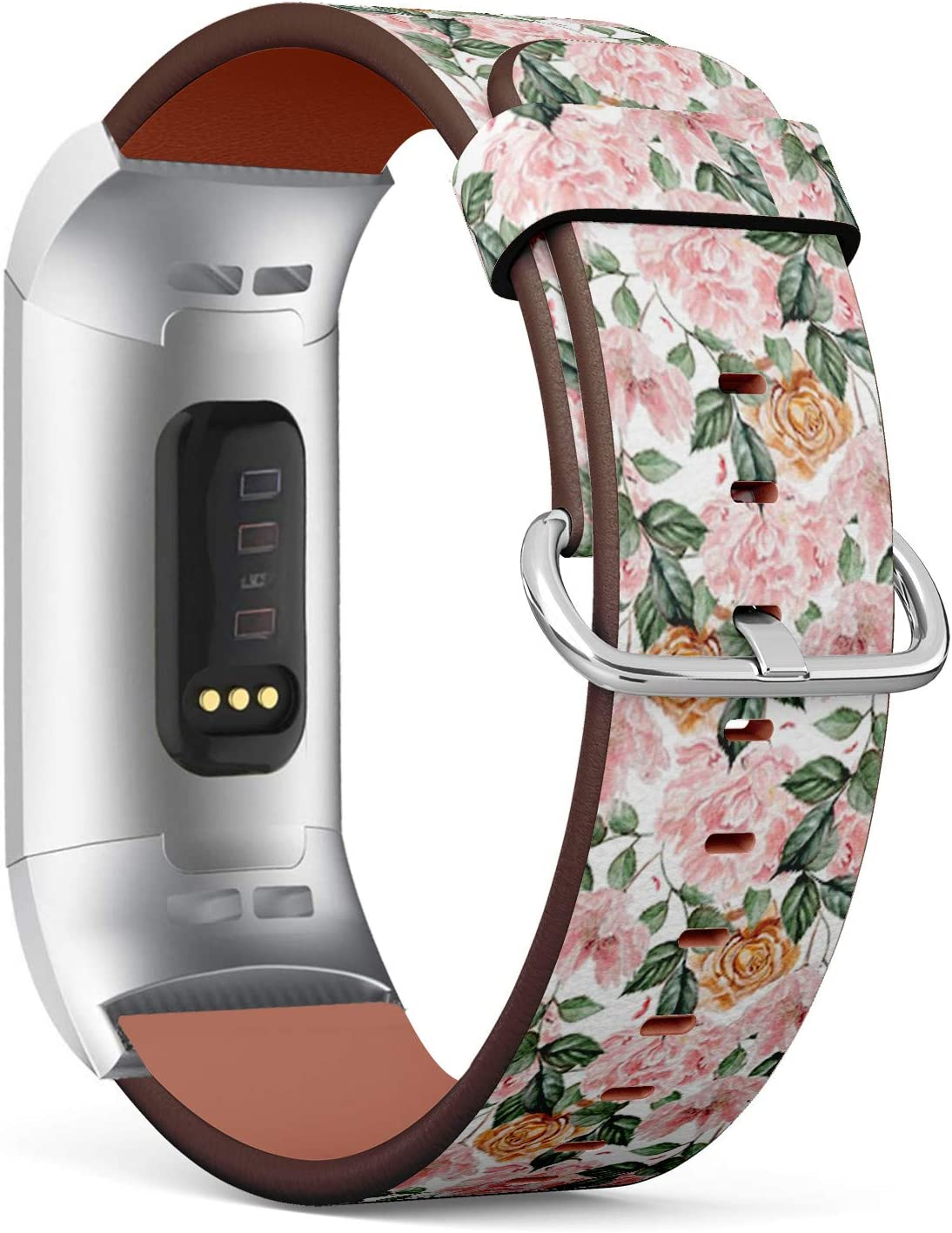 Compatible with Fitbit Charge 3 & 3 SE - Leather Wristband Bracelet Replacement Accessory Band (Includes Adapters) - Watercolor Peony Flowers Roses 71wfajr3KhL