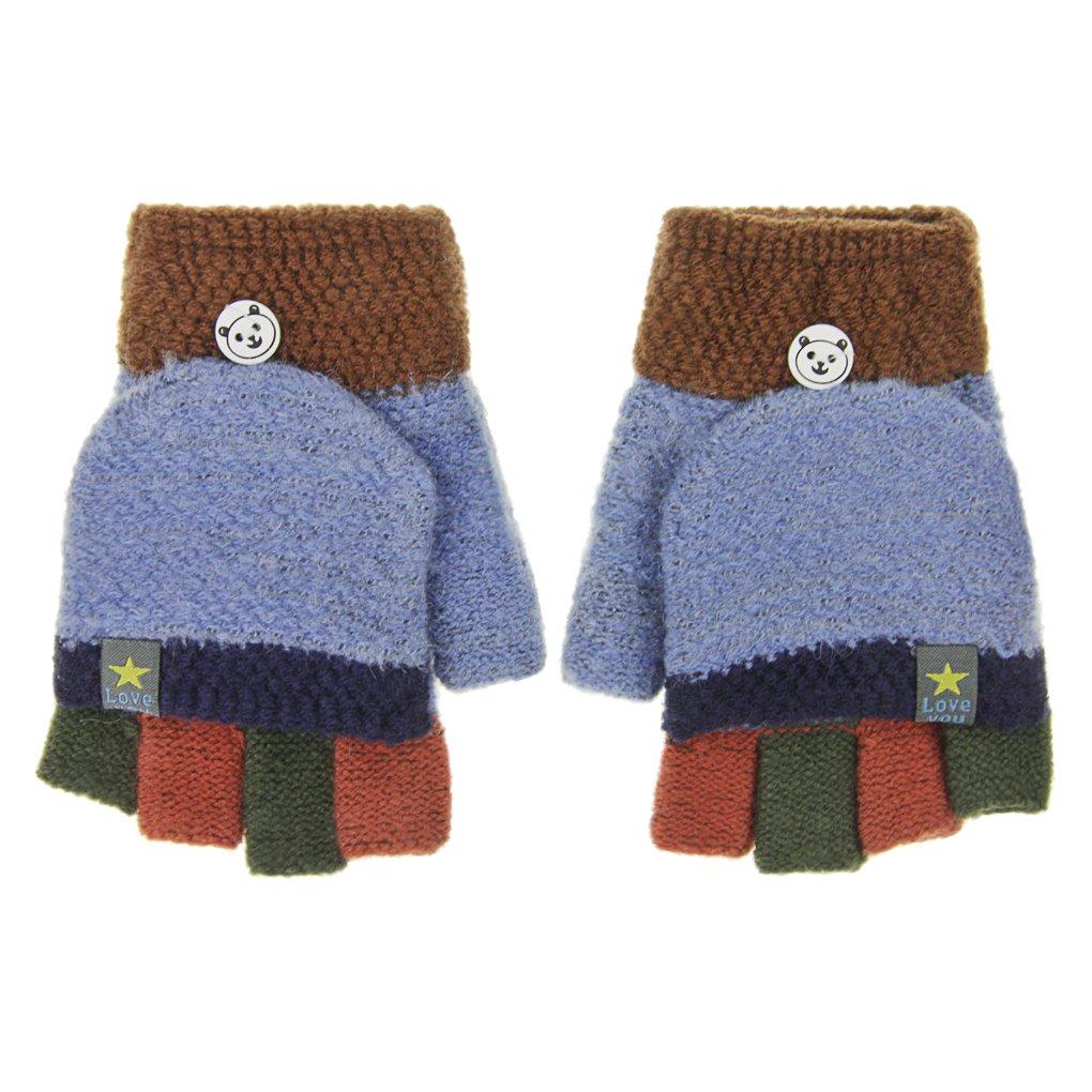 Girls Boys Super Soft Knitted Gloves Winter Warm Half-finger Flip Top Gloves Winter Wool Gloves with Fold Back Pocket Hand Warmer Wear Outdoor Sports Cotton Gloves Christmas Birthday Gifts