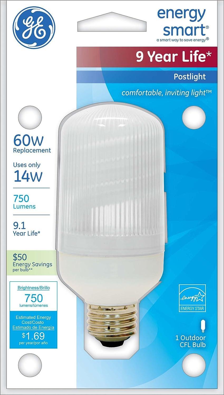 Ge lighting 85384 14 watt outdoor cfl post light 60 watt ge lighting 85384 14 watt outdoor cfl post light 60 watt replacement energy smart light bulb compact fluorescent bulbs amazon aloadofball Images