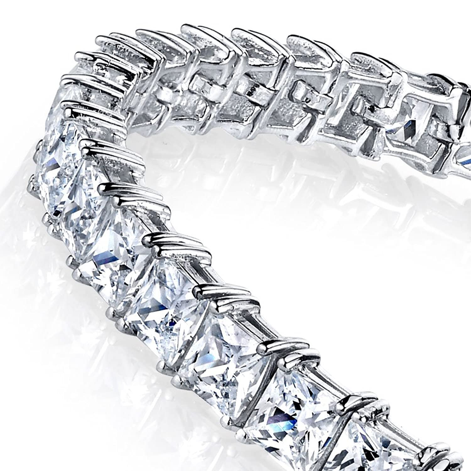 Sterling Silver 4mm Princess Cut Square Cubic Zirconia Diamond Bracelet 20 Carats of Total Weight CZ's