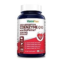 CoQ10 400 mg 100 Veggie Caps (Vegan, Non-GMO & Gluten-Free) Coenzyme Q10 Supplement, Antioxidant COQ-10 Enzyme, Coq 10 - Serving Size 2 Daily Caps