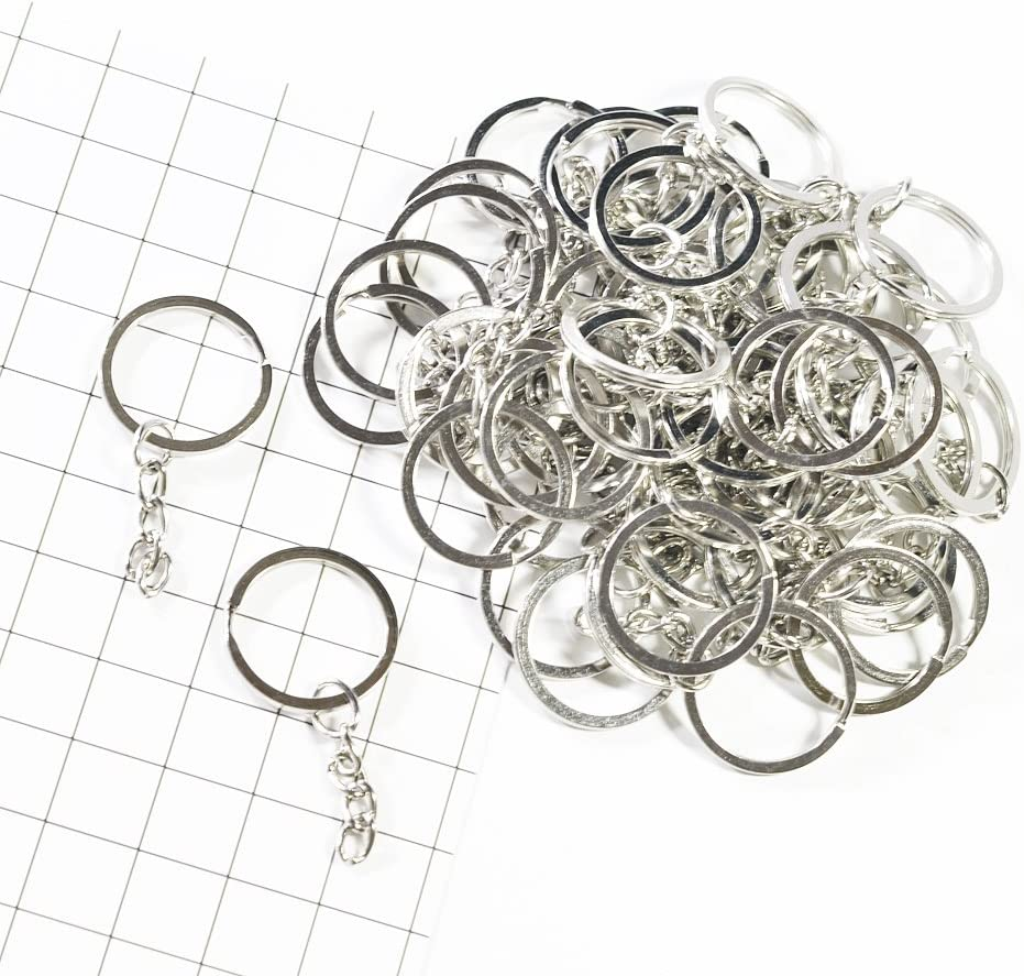 freneci 50 PACK 25MM Split With Chain KEY KEYRINGS JEWELRY FINDINGS CLASP DIY