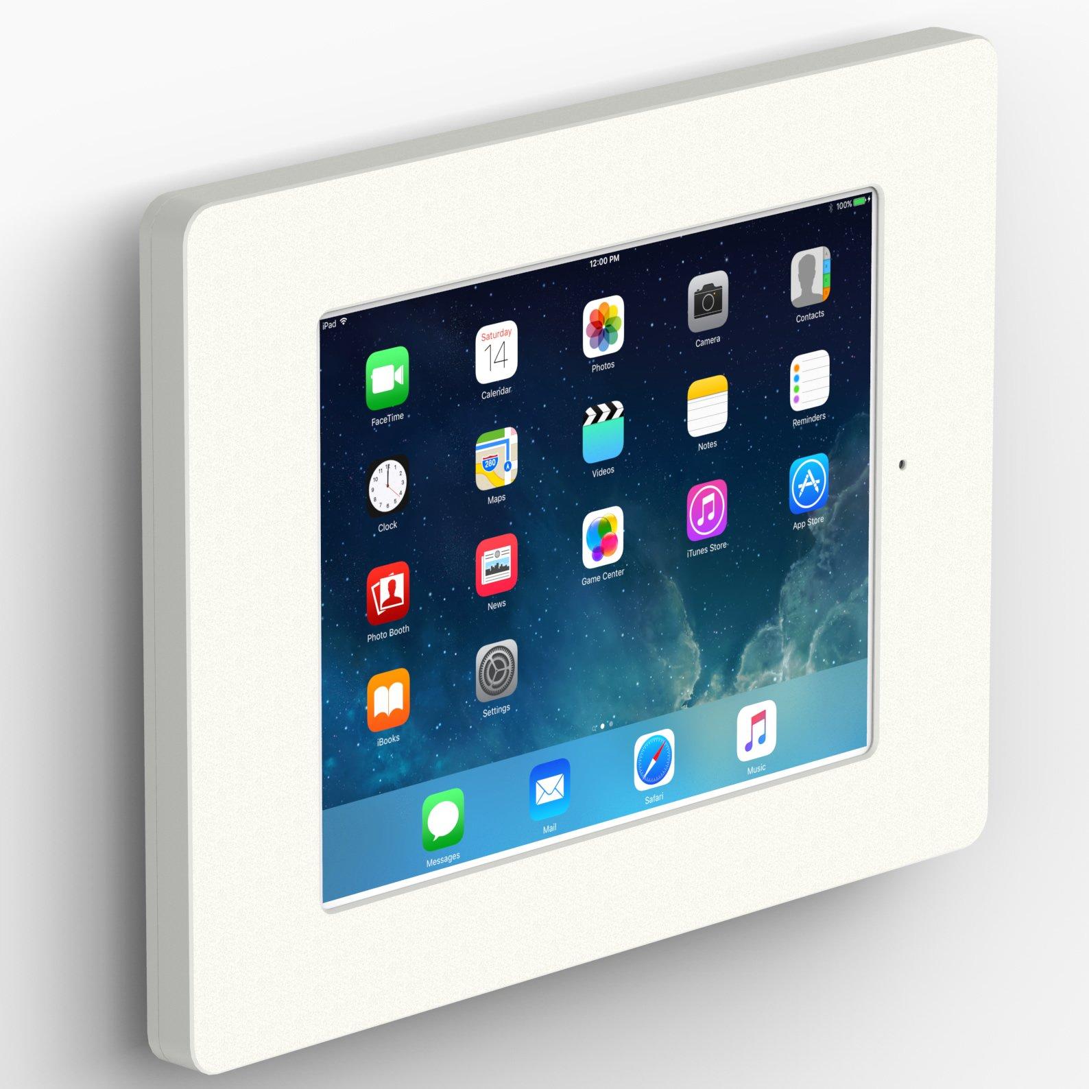 iPad (5th Gen) 9.7/Pro, Air 1/2 White Home Button Covered Fixed Slim VESA Wall Mount [Bundle] by VidaBox Kiosks (Image #1)