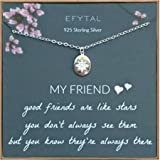 EFYTAL Best Friend Gifts, 925 Sterling Silver Star Friendship Necklace, Birthday Jewelry Gift Necklaces for BFF, Bridesmaid G