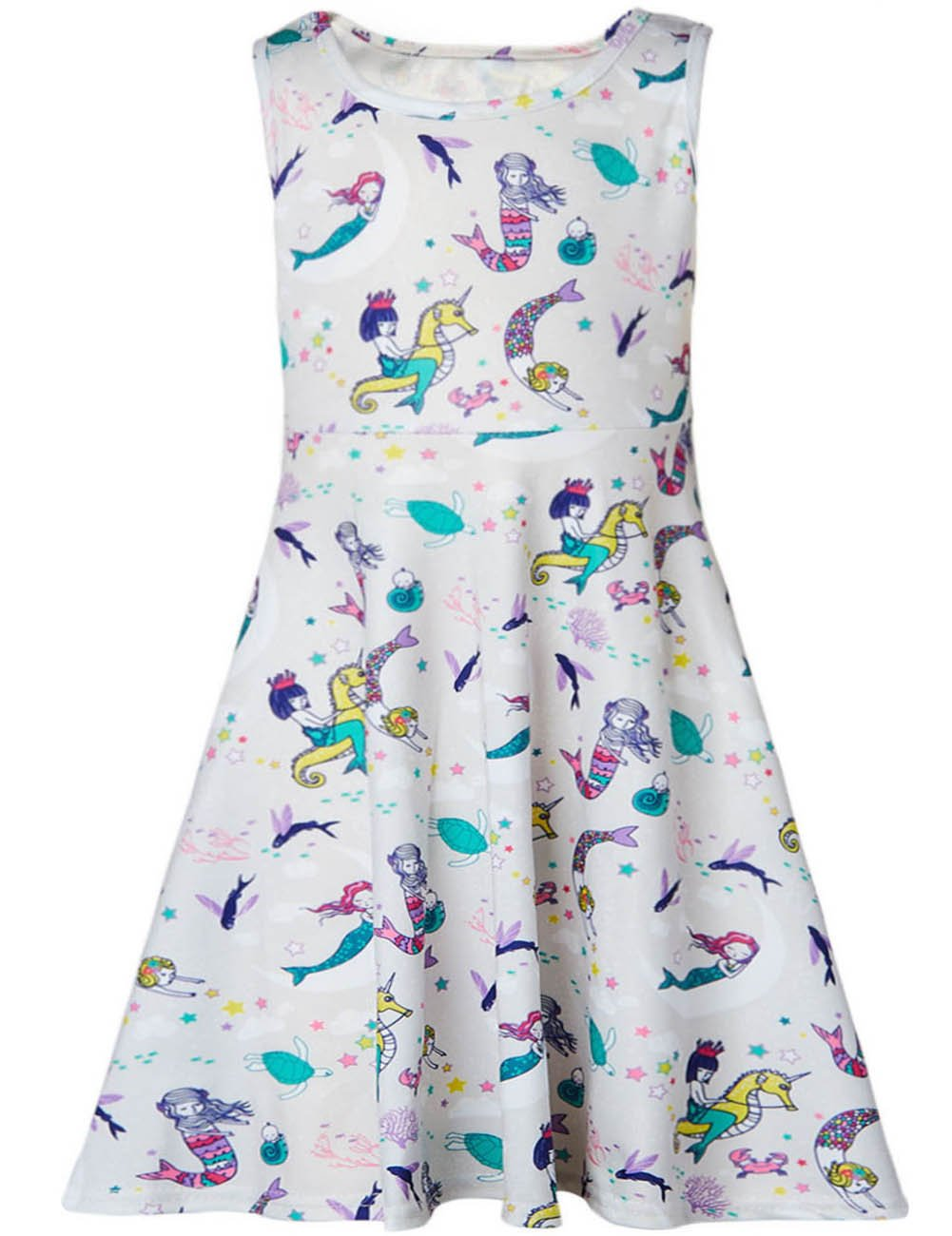 Funnycokid Girls Sleeveless Round Neck Floral Printed Holiday Dress Size 4-13 ZY-TZ4P