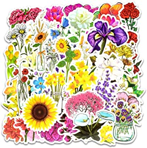 Jasion 50-Pcs PVC Watercolor Spring Blooming Flowers Bouquet and Cute Plant Nature Stickers Decals Waterproof Sunlight-Proof DIY Ideals for Water Bottles Cars Motorbikes Portable luggages Laptops