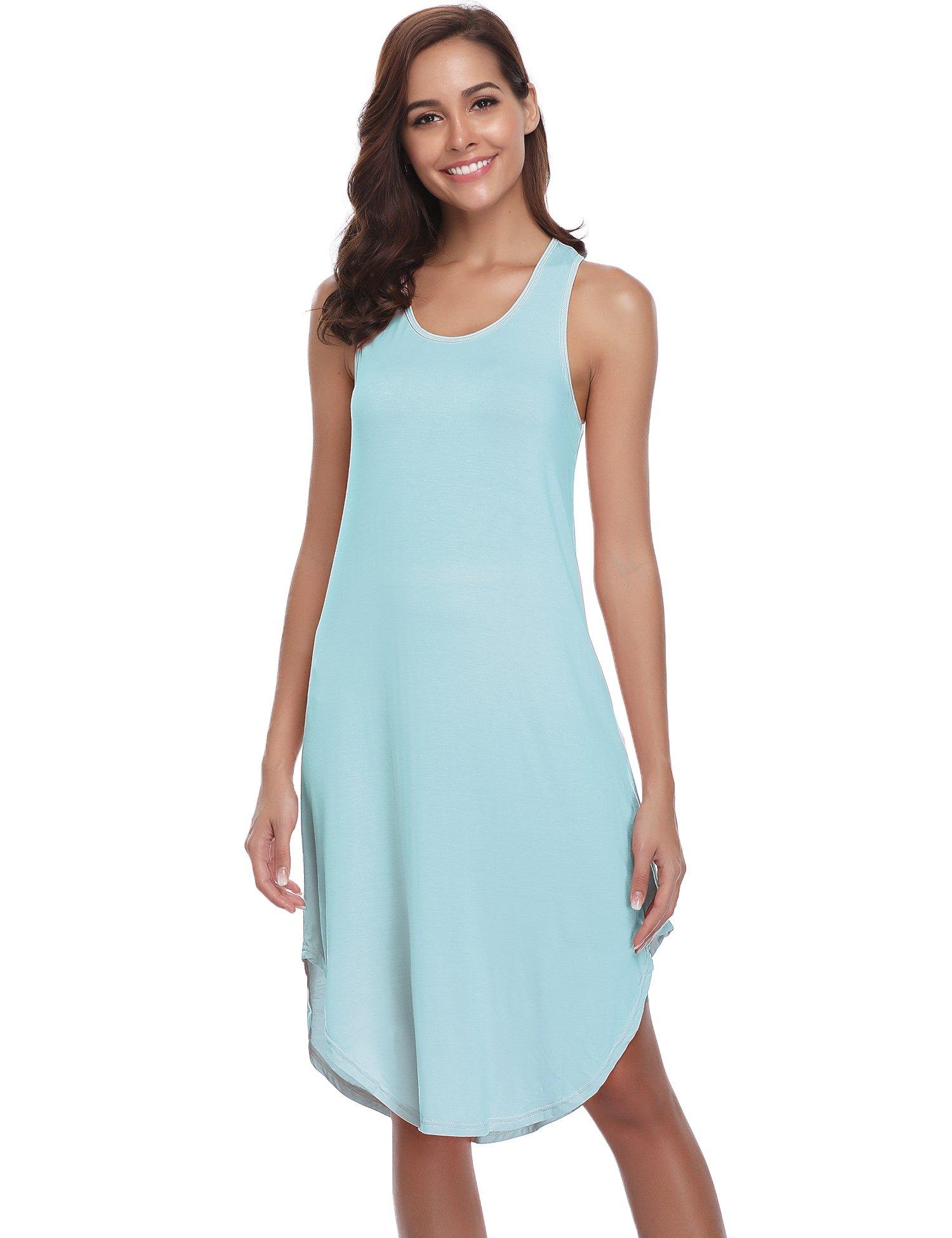 Aibrou Women's Cotton Nightgown Sleeveless Racerback Nightshirt Dress Sleepwear (Light Blue, Medium)