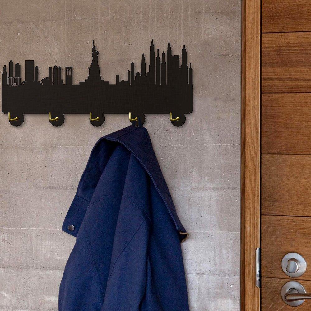 America New York Skyline Tourist Attraction Modern Household Decor Wall Hooks Bedroom Hanger Clothes Coat Hooks Hats Towel Hooks Keys Holder