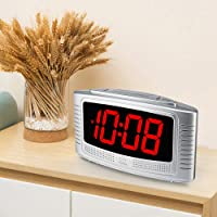 DreamSky Little Digital Alarm Clock with Snooze (Silver + Red)