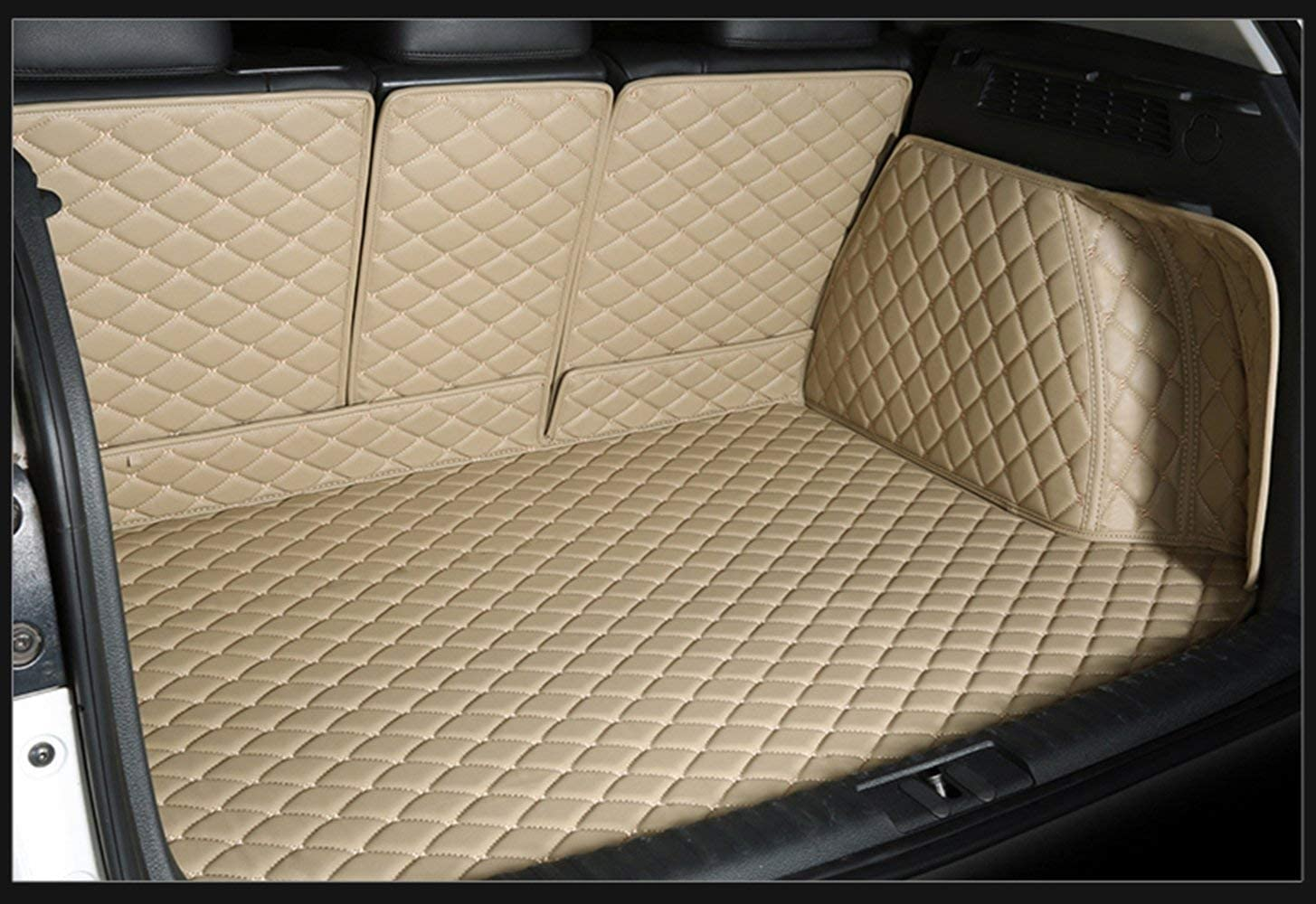 Bonus-Mats Custom Fit All-Weather Full Coverage Waterproof Car Cargo Liner Trunk Mat for Audi Q7 5 seat 2006-2015 Beige