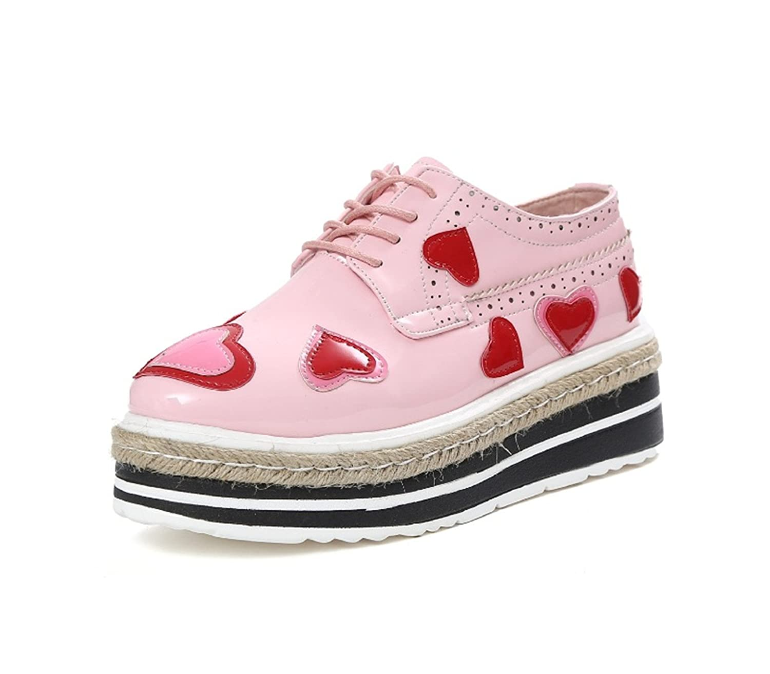 Baqijian Woman Pumps Women Shoes Wedges Heels Platform Casual Thick Sole Lace Up Heart Shaped Patent Leather Women Shoes