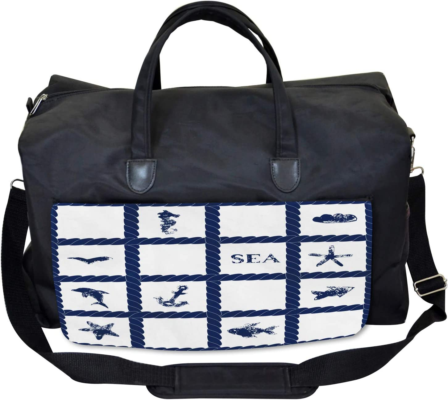 Large Weekender Carry-on Ambesonne Ocean Gym Bag Starfish Anchor Sealife