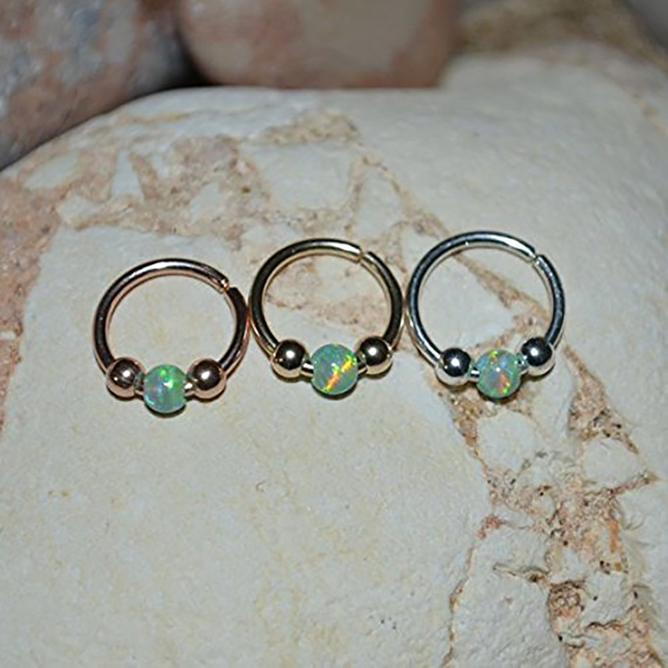 Opal SEPTUM RING 18g // Silver Nose Ring - Cartilage Earring - Septum Hoop - Rook Piercing - Septum Piercing - Nipple Ring