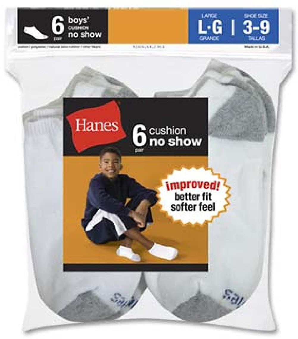 White//Gray Hanes Little Boys 2 Pack Red Label Cushion No-Show