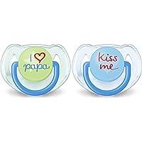 Philips Avent Classic – Set met 2 fopspenen versierd, voor meisjes van 6 tot 18 maanden, meerkleurig, blauw transparant…