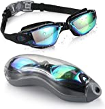 Aegend Swim Goggles, Mirrored Swimming Goggles No Leaking Anti Fog UV Protection Triathlon Swim Goggles with Free Protection Case for Adult Men Women Youth Kids Child, Blue & Black