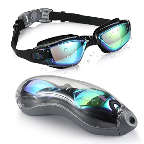 3c1f713cf67 Aegend BLACK MIRRORED Swimming Goggles No Leaking Anti Fog UV ...