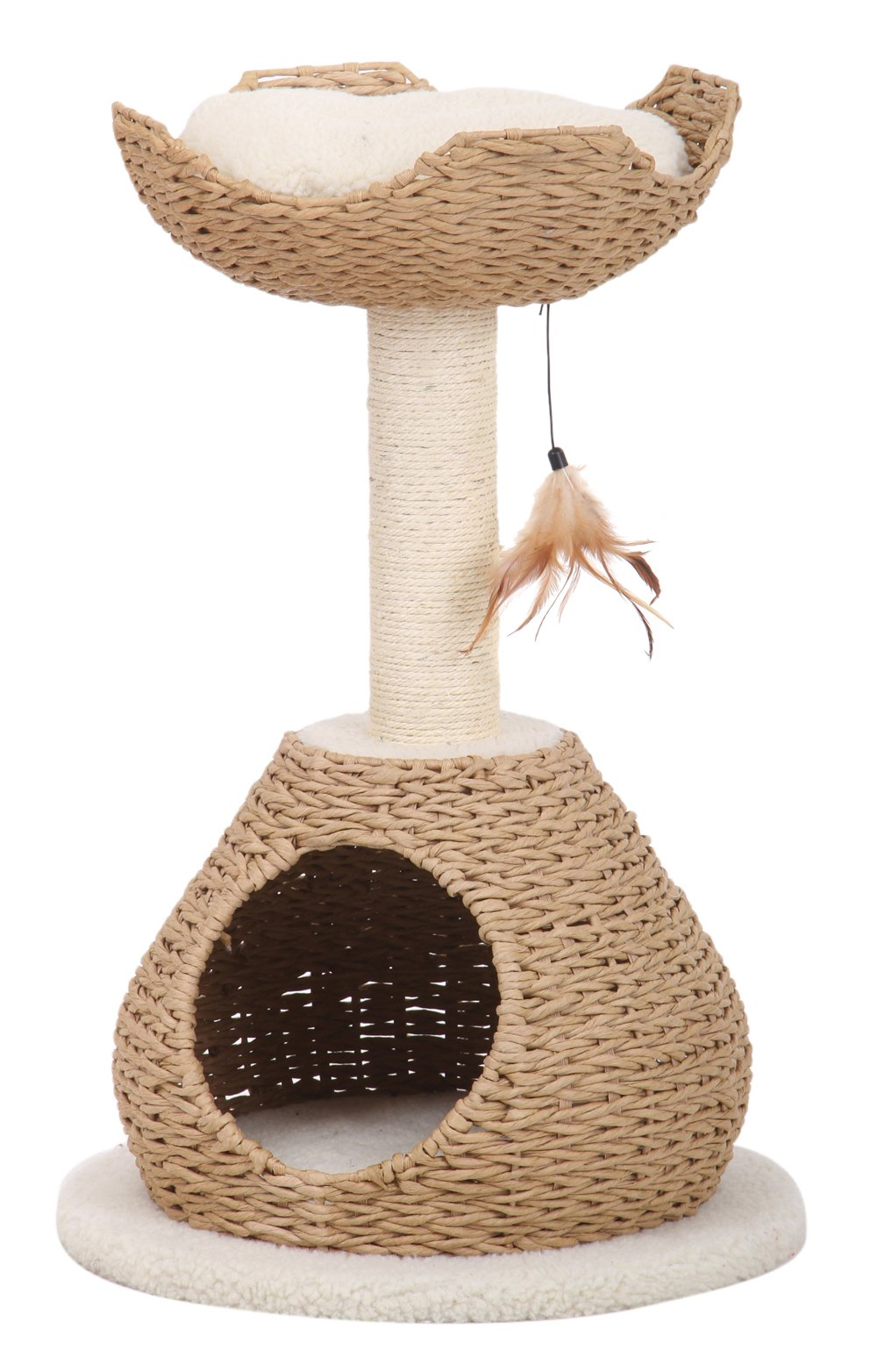 Petpals Hand Made Paper Rope Cat Tree Condo with Scratching Post, Perch and Interactive Feather Toy, Natural by PetPals (Image #1)