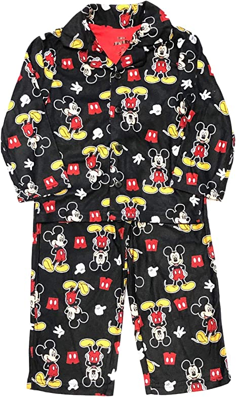 MICKEY MOUSE Toddler Boys Pajamas 2 Pc FLANNEL Set 3T 4T Disney Race Car Nascar