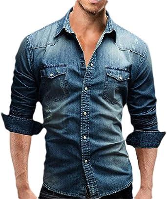 Camisa de Vestir de Vaquero de Manga Larga para Hombre, Estilo Informal, de algodón - Azul - X-Small: Amazon.es: Ropa y accesorios