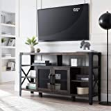 OKD TV Console Large Industrial Entertainment Center Rustic Tall Wood TV Stand Cabinet for 65 Inch TV, with Sturdy Side Metal
