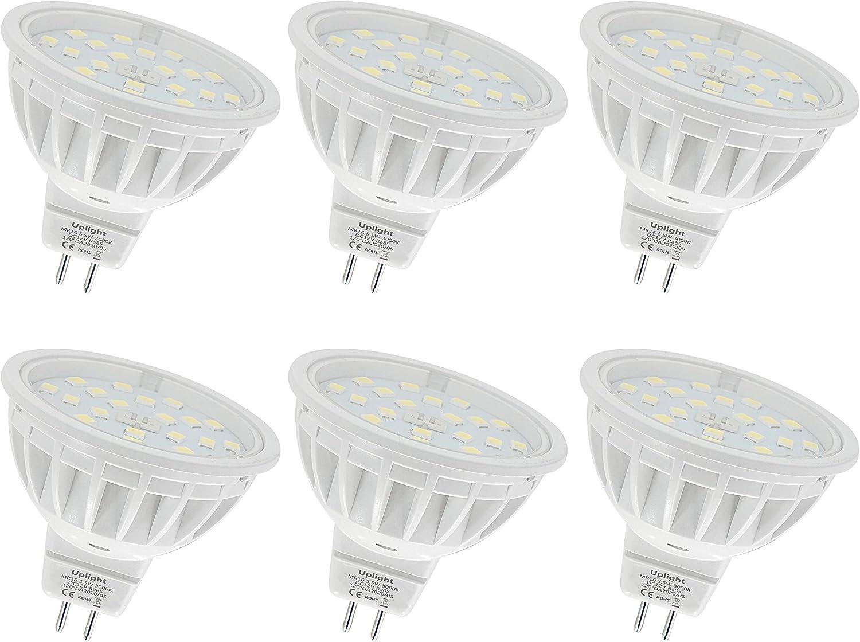Uplight 5.5W MR16 LED Bombillas Gu5.3 Destacar,Blanco Cálido 3000K,Equivalente 50-60W Luz Halógena,Ra85 600LM DC12V,6 Piezas.