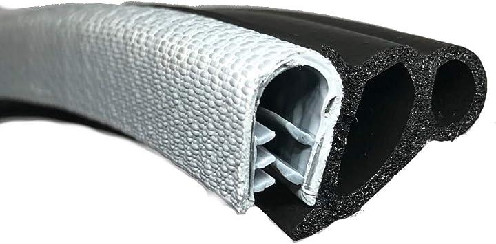 3 Meter Black Door Rubber Seal Large Grip Range 24.2mm Bulb Height x 6.9mm Grip Range x 17mm U Height