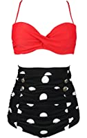 COCOSHIP Retro Polka Dot High Waisted Bikini Set Tie Belt Vintage Ruched Swimsuit(FBA)