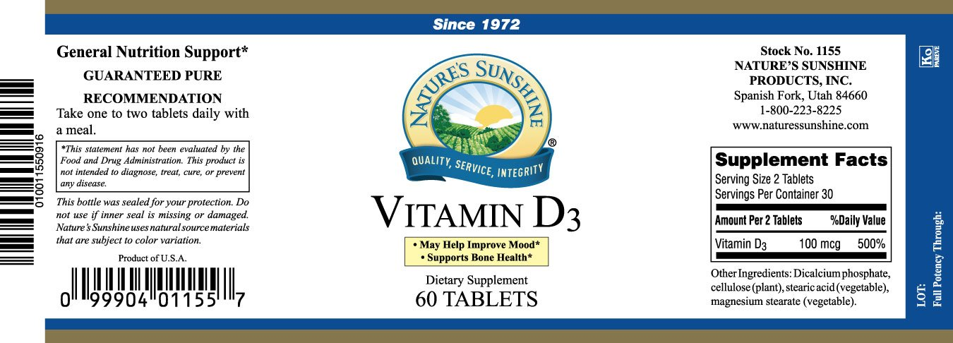 Naturessunshine Vitamin D3 Supports Bone Health 60 Capsules (Pack of 6)