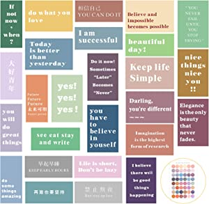 30 Pieces Inspirational Wall Art Encouragement Phrases Wall Collage Kit Motivational Posters with 48 Pieces Colorful Adhesive Round Stickers for Teens and Young Adults Room Wall Decor