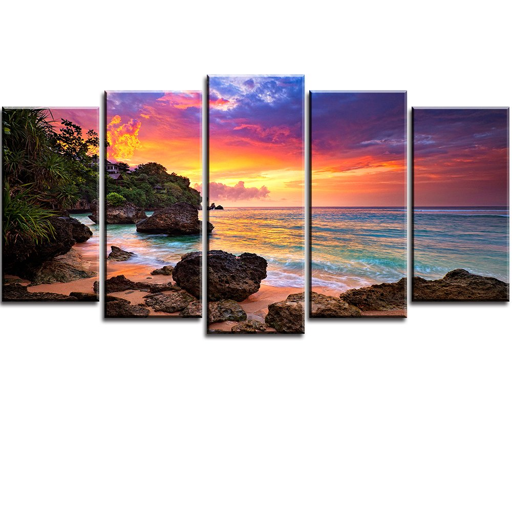 PIY Canvas Wall Art for Living Room, Beautiful Beach Sunset Picture Canvas Prints (Multi, 5 Panels, Large, 32x60 Overall)
