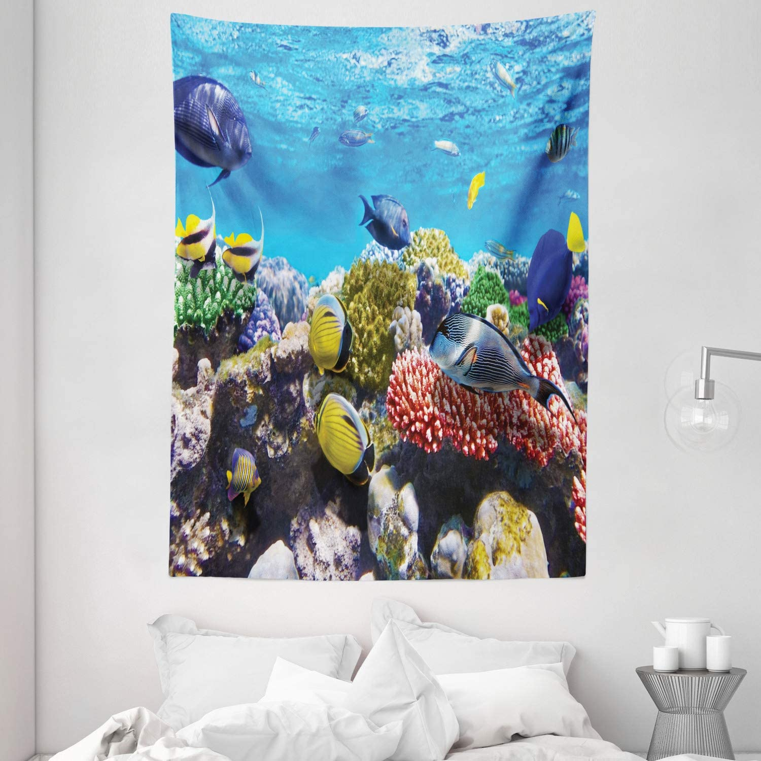 "Ambesonne Ocean Tapestry, Tropical Corals Fish School Natural Life in Shallow Underwater Marine Seascape Image, Wall Hanging for Bedroom Living Room Dorm, 60"" X 80"", Multicolor"
