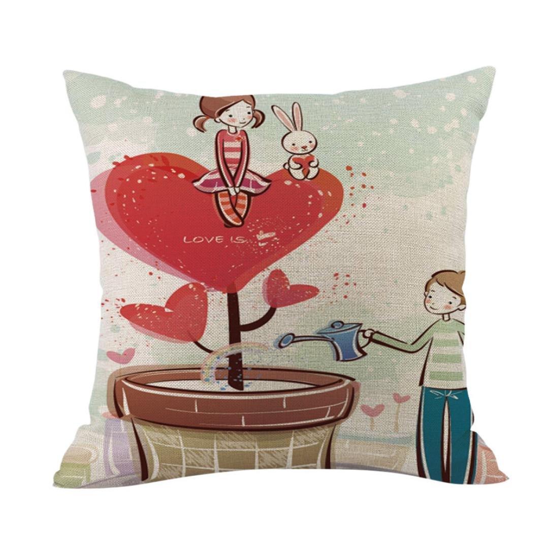 Sweet Valentine Pillow Cases Cotton Linen Sofa Cushion Cover Home Car Decor (N)