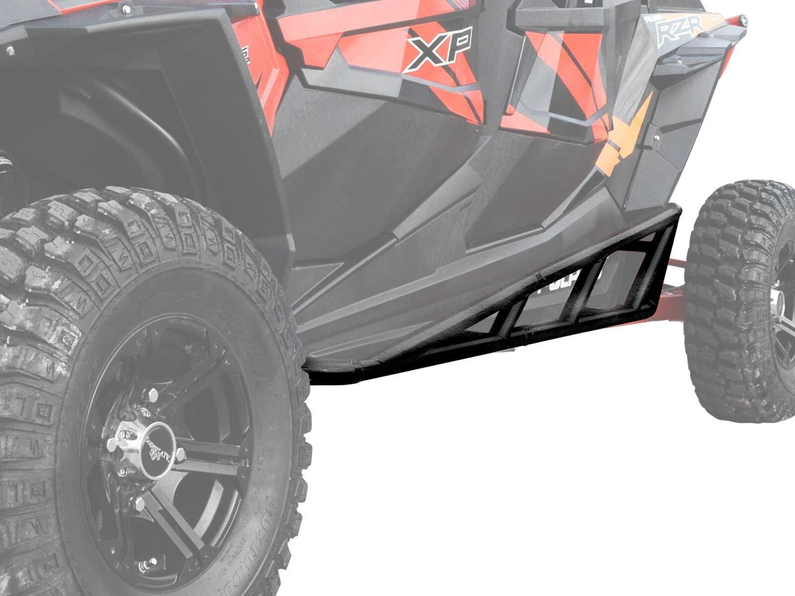 SuperATV Nerf Bars/Tree Kickers/Rock Sliders for Polaris RZR XP 4 1000 (2014+) - Black - Compatible With Our Full Protection Kit!
