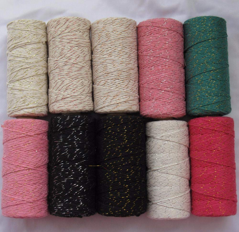 FINCOS 12pcs/lot add All Kinds Metallic Cotton Baker Twine for Gift Packing (11 Kinds Color) Sliver Twine,Copper Twine,red Twine