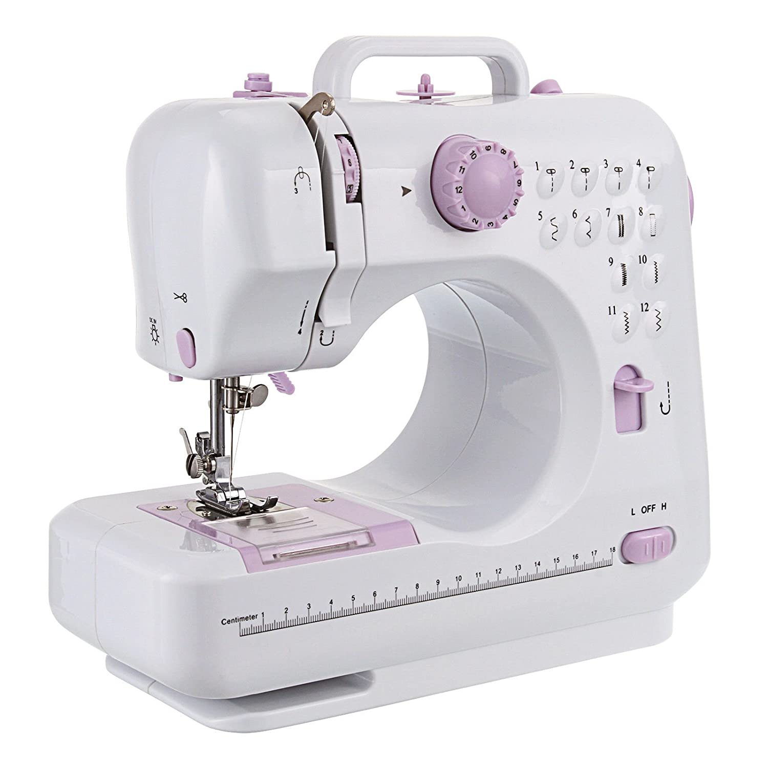 12 Stitches Electric Overlock Sewing Machine LED Double Speed Household Sewing Fanghua