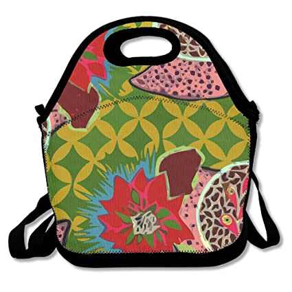 2c4e2f10c019 Bohemian Art Flower Patterns Insulated Lunch Bag - Neoprene Lunch Bag -  Large Reusable Lunch Tote