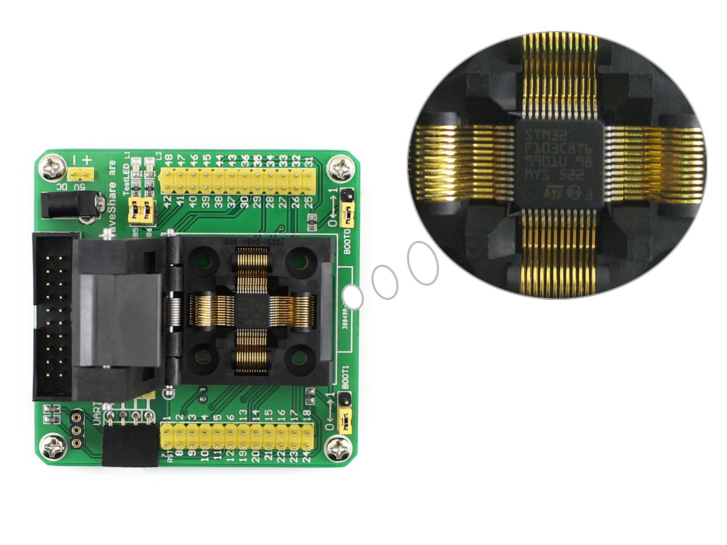 CQRobot Programmer Adapter STM32-QFP48, Yamaichi IC Test and Burn-In Socket With a Simple Board Specifically Designed for STM32 MICrocontroller in QFP48(0.5mm Pitch) Package.