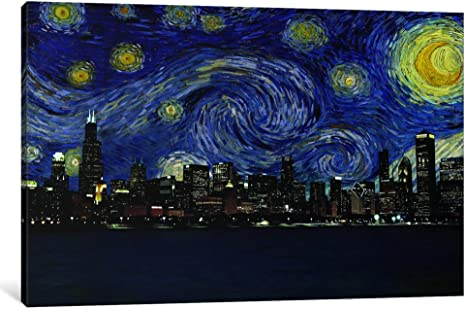 Icanvasart 1 Piece Chicago Illinois Starry Night Skyline Canvas Print By Kane 18 X 12 0 75 Depth Posters Prints