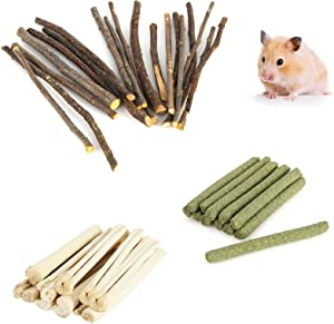 300g Hamster Natural Snack Kit, Apple Sticks Rabbit Hamster Chew Toys, Timothy Hay Sweet Bamboo Chew Teeth Care Wood Toys for Gerbil Bunny Chinchilla Guinea Pig Pets Food