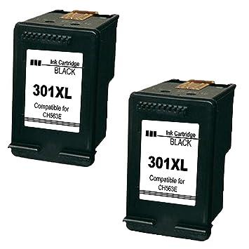 Daryo Compatible HP 301 XL Cartuchos de tinta (2 Negro) Compatiable con HP Deskjet 1000 1010 1510 1512 2000 2050 2054a 2510 2514 2540 2542 3000 3050 ...