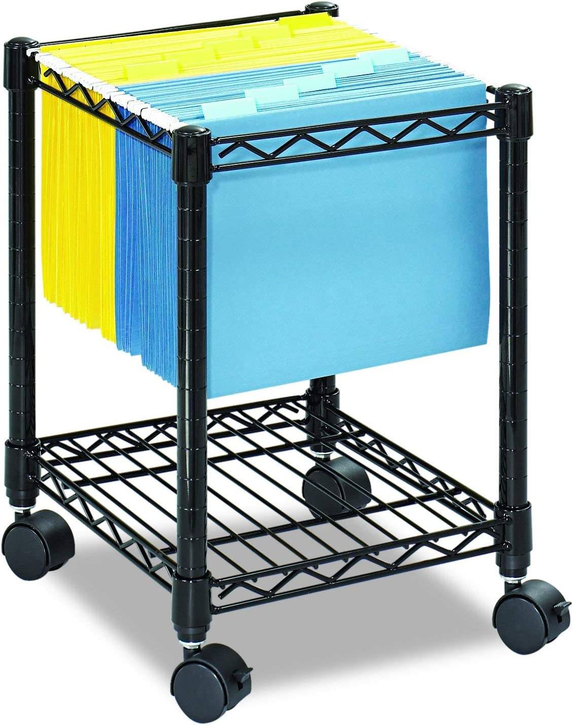 Safco Products Compact Mobile Letter Size File Cart 5277BL Black, Black Powder Coat Finish, Swivel Wheels for Mobility: Office Products