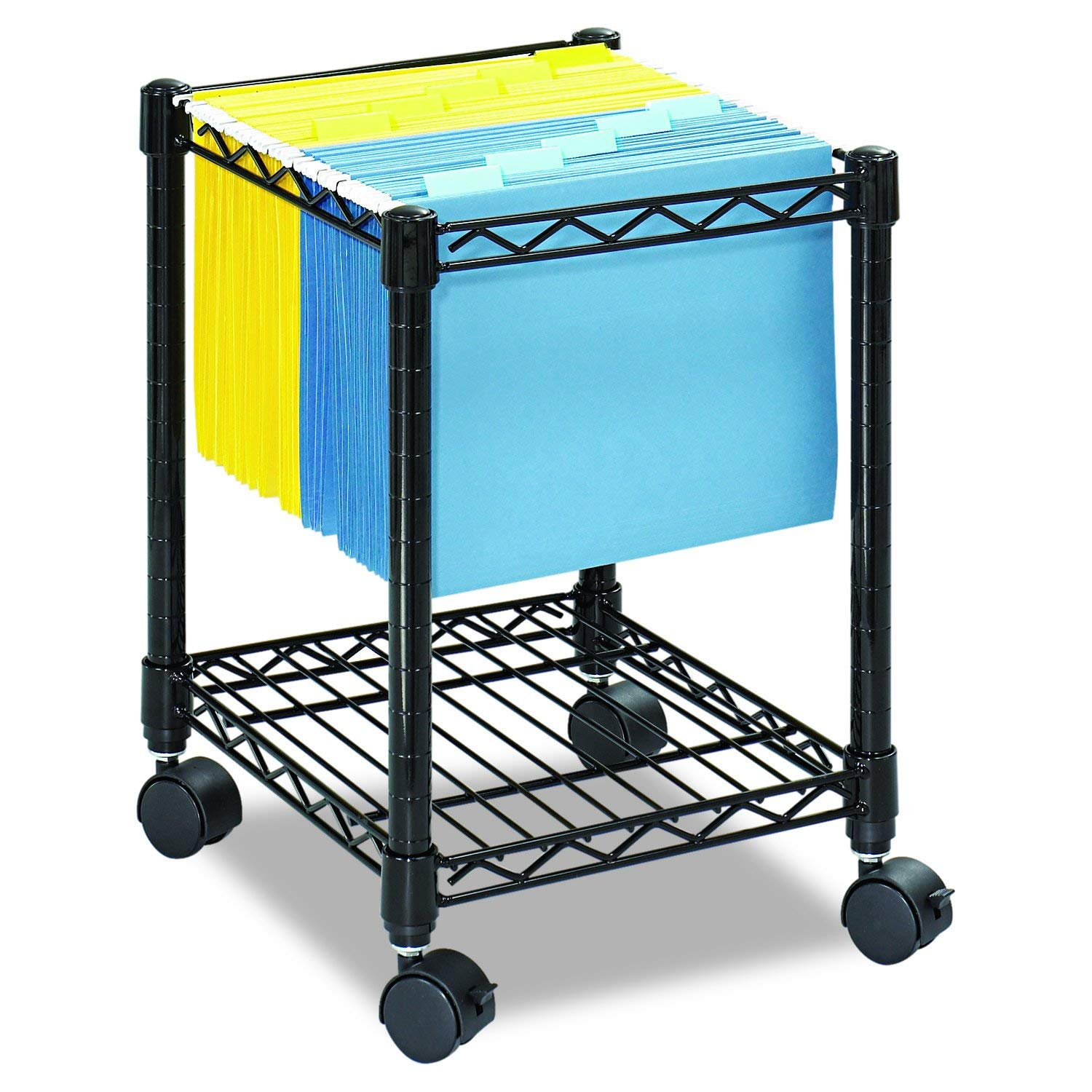 Safco Products CompactMobile Letter Size File Cart 5277BL Black, Black Powder Coat Finish, Swivel Wheels for Mobility